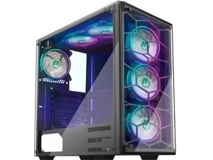 MUSETEX Phantom Black ATX Mid-Tower Desktop Computer Gaming Case USB 3.0 Ports Tempered Glass Windows with 6pcs 120mm Voice Control LED RGB Fans Pre-Installed
