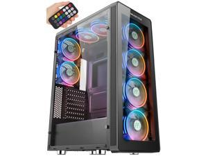 MUSETEX 8× ARGB Fans, 2× USB 3.0 ATX Mid-Tower PC Gaming Case with Remote Control, Tempered Glass Cooling System/Airflow/Cable Management