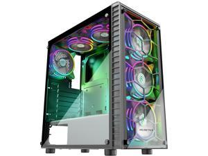 MUSETEX Gaming Case with 6 x 120mm ARGB Fans (Pre-Installed) and USB3.0, High Airflow ATX Mid-Tower Chassis Gaming PC Case, 2 Tempered Glass Panels Gaming Style Windows Computer Case Desktop Case