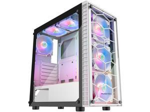 MUSETEX ATX Mid Tower Gaming Computer Case 6 ARGB Fans (Pre-Installed), 2 Translucent Tempered Glass Panels USB 3.0 Port, Cable Management/Airflow, Gaming Style Window Case (G05N6 White)