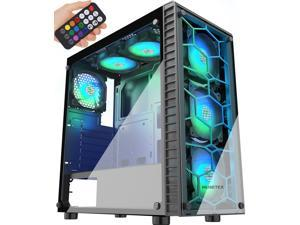 MUSETEX Phantom Black ATX Mid-Tower Desktop Computer Gaming Case USB 3.0 Ports Tempered Glass Windows with 6pcs 120mm Voice Control LED RGB Fans Pre-Installed With Remote