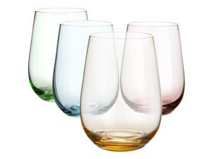 DIKO Colored Stemless Wine Glasses (Set of 4)- 16.7oz, Hand Blown Lead Drinking Glass Tumblers for Red or White Wine, Water, Juice, Beer, Cocktail, Deluxe Gift Pack