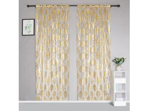 Morocco Gold Silver Sheer Curtains Window Door Yarn Tulle Living Room Bedroom Hotel Home Decor Voile Curtain Panel Drapes 95x200cm95x200cm/Golden