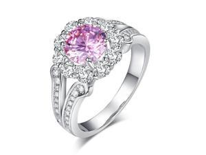 Exquisite Wedding Rings Art Deco Vintage 925 Sterling Silver Promise Anniversary Ring 1.25 Ct Fancy Pink Created Diamond8/XFR8254