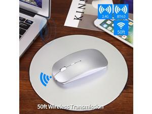 BINGFEI Wireless Bluetooth Mouse Wireless Rechargeable Mouse Computer Ergonomic Mice Silent Mini PC Mause 2.4GHz USB Mouse for Laptop,Silver