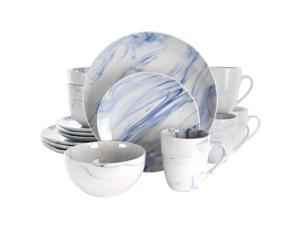 Fine Marble 16 Piece Stoneware Dinnerware Set in Blue and White