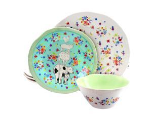Life on the Farm 12 Piece Round and Scalloped Durastone Dinnerware Set with Farm and Floral Print