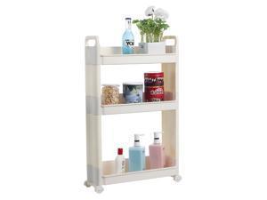 3-Tier Storage Cart Slim Slide Tower Rack Shelf With Wheels Office Home Kitchen