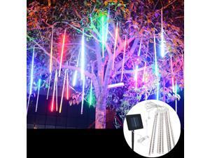 Waterproof Solar Powered 50cm 8 Tubes LED Meteor Shower Rain Garden Tree HoliDay Light Blue