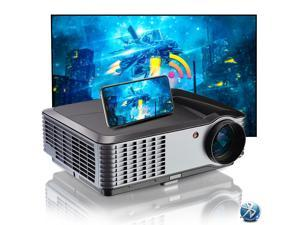 """1080P WIFI Projector, 5000 Lumens Android Projector with Bluetooth, Smart Home Theatre Projector 4K Supported, with 300"""" Display, HDMI, VGA, USB for Home Office Outdoor School Camping"""