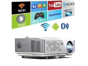 """6000 Lumens 1080 Native Projector, Full HD Android Projector with WiFi Bluetooth, 300"""" Max Image Size, with HDMI USB VGA AV Inputs, Compatible with Smartphone TV Sticks PC Xbox Playstation USB Drive"""