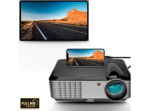 """1080P Home Projector Projector , 5000 Lumens LED Video Projector, 300"""" and 4K Supported, Compatible with Phone ,Tablet, TV Stick , Dual Speakers, HDMI, USB, VGA"""