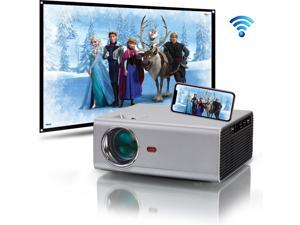"""Portable Projector, WiFi Projectors with Bluetooth, Side Projection and 130"""" Display Supported, 1080P 4K Compatible with Phone, PC, TV Stick, PS4, HDMI / USB/ VGA/ AV, for Home Theater Gaming Sports"""