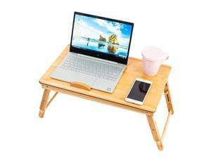 SINOTOP Adjustable Bamboo Computer Desk Trendy Double Flowers Engraving Pattern Wood Color 53cm