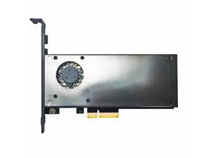 GLOTRENDS 2 in 1 M.2 PCIe NVMe 4.0/3.0 Adapter with EMI Protection Cover Built-in Fan for M.2 PCIe (NVME/AHCI) SSD and M.2 NGFF SATA SSD (PA13-FAN)