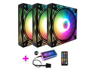 RGB LED Case Fans Kit 120mm with Remote Controller Fan Hub and Extension, COOLMOON Quiet Edition High Airflow Adjustable Colorful PC Case CPU Computer Cooling with Coolers, Radiators System