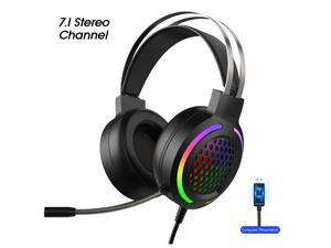 Gaming Headset Earphone Wired Gamer Headphone 7.1 Surround Stereo Sound Headsets with Mic LED light for PC Gamer (USB Plug)