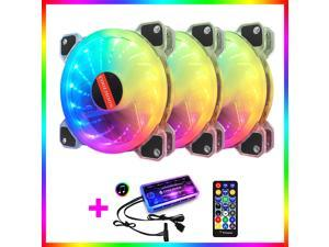 COOLMOON ARGB LED Case Fans Kit 120mm with Remote Controller Fan Hub and Extension Quiet Edition High Airflow Adjustable Colorful Addressable RGB PC Chassis fan Motherboard synchronization