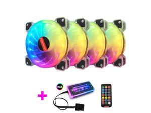 COOLMOON Universal RGB LED Case Fans Kit 120mm with Remote Controller Fan Hub and Extension Quiet Edition High Airflow Adjustable Colorful PC Chassis fan Cooling with Coolers Radiators System