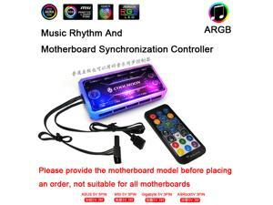 COOLMOON ARGB LED Case Fans Remote Controller Fan Hub  Addressable RGB Music controller ARGB controller  Motherboard synchronization 5V 3Pin and 4Pin Power