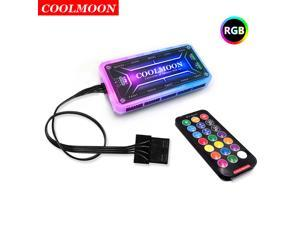 COOLMOON Universal RGB LED Remote Controller Fan Hub Standard Controller Big 4PIN Power suit 6 Pin Fan Multiple Color Switching