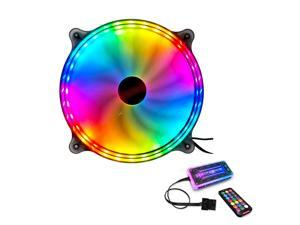 COOLMOON 200mm RGB Cooling Fan (6 Pin) for Adjustable Color LED Desktop PC Computer Chassis Fan with Remote Controller, Colorful Silent Cooler Adjustable with Fan Control Hub (4 Pin)