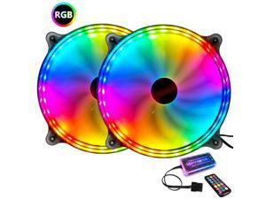COOLMOON 200mm RGB Cooling Fan (6PIN to hub)for Adjustable Color LED Desktop PC Computer Chassis Fan with Remote Controller, Colorful Silent Cooler Adjustable with Fan Control Hub (4PIN Power)