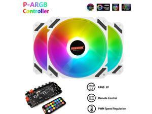 COOLMOON PWM ARGB Motherboard Synchronization Desktop PC Case Fan 5V 3Pin 16 Million Colors Computer Chassis Fan for ASUS MSI Gigabyte ASRock with Centralized Control Hub Remote Control