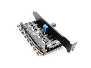 Computer PC Channel 8 Way PWM 4 Pin/3 Pin Fan Speed Controller PCI Cover, 12V Molex Temperature Control for CPU Case Fan Radiator