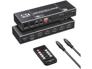 4*2 HDMI Switch Splitter 4 in 2 out 4K@60HZ HDMI 1.4 Matrix 4X2 Dual Audio Output Optical SPDIF 3.5mm L/R 3D Support EDID with Remote Switch Controller