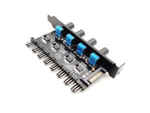 Computer PC Channel 8 Way PWM 4 Pin/3 Pin Fan Speed Controller PCI Slot, 12V SATA Temperature Control for CPU Case Fan Radiator (4 Knobs Each Control 2 Fans)