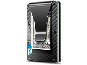 Carbon Fiber Walle -Metal Money Clip Wallet- RFID Blocking - Slim Metal Wallet ,Mens Wallet