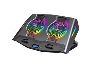 Aluminum Alloy RGB Laptop Cooler Stand Dual-Turbo 140mm Fans Dual-USB Silent and Wind-Powered 6-speed Adjustment Laptop Cooler Pad Compatible with Laptops Notebook PC Under 21 inches