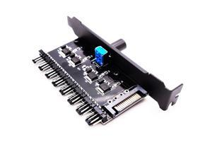 PWM 4 Pin/3 Pin Fan Speed Controller PCI Cover, Computer PC Channel 8 Way 12V SATA Power Temperature Control for CPU Case Fan Radiator (One Knob)