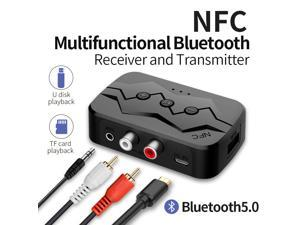 Bluetooth Receiver & BT Transmitter 2-in-1 Bluetooth Transmitter 5.0 RCA Audio NFC Bluetooth Receiver For IPhone/iPad/iPod Touch/Android 3.5mm AUX Music Wireless Adapter Support TF/U Disk