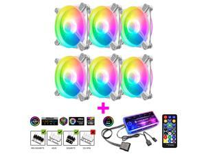 12 cm ARGB Desktop Computer Case Cooling Fan RGB Small 6-pin Case Radiator Quiet Cooler with IR Remote Controller Hub