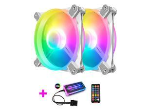 12 cm RGB Desktop Computer Case Cooling Fan RGB Small 6-pin Case Radiator Quiet Cooler with IR Remote Controller Hub