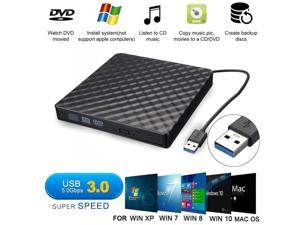 External CD Drive, USB 3.0 Slim External CD DVD ROM Drive Writer Reader Burner,  Portable CD DVD RW Drive/Writer/Burner Optical Player External DVD Drive for Macbook/Laptop/Desktop PC Windows XP/7/10