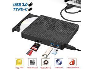 External CD DVD Drive, 2-Port Hub USB 3.0 with Type-C SD/TF Card Reader CD/DVD +/-Rw Drive ROM Rewriter Burner for Laptop Desktop MacBook Mac OS Windows 10 8 7 XP Vista