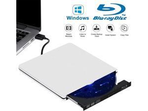 External Blu Ray CD DVD Drive Burner 3D, USB 3.0 BD ROM DVDRW CDRW Bluray Burner Player Writer Rewriter Reader for Macbook Notebook Laptop Mac OS Windows 10 8 7 XP