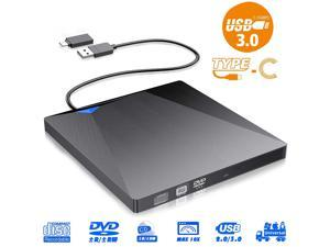 [Upgraded] External CD DVD Drive, USB 3.0 Type-C Portable Optical Superdrive Burner Player Writer CD DVD +/- RW, Compatible with Windows 10 8 7 XP Vista Mac OS System for Mac Pro Air iMac Laptop