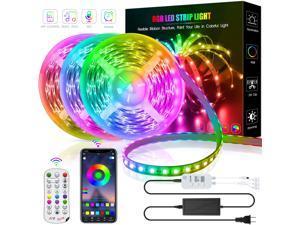 50ft/15M LED Strip Lights, HRDJ RGB LED Light Strip Music Sync RGB LED Strip,5050 SMD Color Changing LED Strip Light Bluetooth Controller + 24 Key Remote LED Lights for Bedroom Home Party