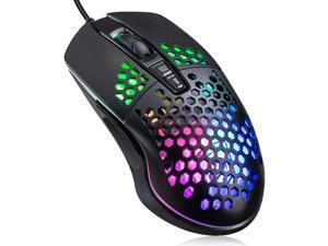 Lightweight Gaming Mouse, Wired USB Computer Gamer Mice with Ultralight Honeycomb Shell, RGB Chroma LED Light, 6400 DPI Adjustable, Pixart 3325, Programmable 7 Buttons Mouse for Windows 7/8/10/XP