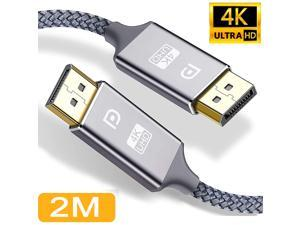 DisplayPort Cable, 4K DP Cable Nylon Braided -(4K 60Hz, 2K 144Hz) Display Port Cable Ultra High Speed DisplayPort to DisplayPort Cable 6.6ft for Laptop PC TV etc- Gaming Monitor Cable (Grey)