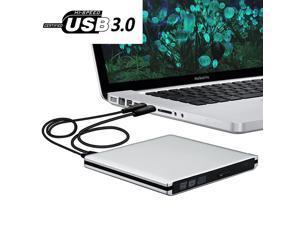 USB3.0 Ultra Slim External DVD Drive Burner Optical Drive CD+/-RW DVD +/-RW Superdrive Compatible with Mac MacBook Pro Air iMac and Laptop Mac OS Windows 10 8 7 XP
