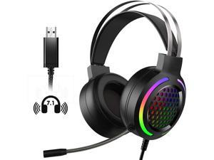 Gaming Headset with 7.1 Surround Sound,PC Lightweight Headset with Noise Canceling Mic,Bass Surround,Soft Memory Earmuffs,Rainbow Backlit for PC,PS4,Xbox One Controller (Adapter Not Included)
