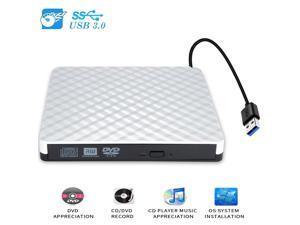 External DVD CD Driver, USB 3.0 Portable Slim Burner DVD+/-RW Writer Plug and Play DVD/CD-ROM Rewriter CD Player for PC Laptop, Notebook, Desktop Supports Mac OS, Windows 10/8/7/XP/Vista (White)