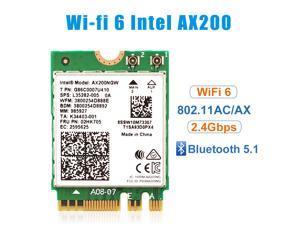 NEW Intel Dual Band Wireless-AX200NGW WLA/Wi-Fi 6 AX200 2230 2x2 AX+ Bluetooth 5.1,M.2/A-E-Key (AX200.NGWG) Wi-Fi 6 AX200 without vPro, 2.4GHz/5GHz WiFi, Bluetooth 5.1, M.2/A-E-Key 802.11ax