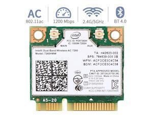 Mini pcie WiFi Card Dual Band Wireless AC 7260 PCI Express Card 802.11ac 2x2 Wi-Fi 7260hmw Bluetooth 4.0 PCIe Half WiFi Card 802.11 b/a/g/n/ac for Laptop Window 7 8 8.1 10 Linux 2.4.x/2.6.x or Later