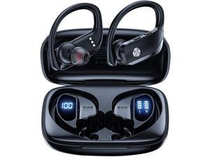 Ture Wireless Earbuds Bluetooth Headphones 48hrs Playtime Sport Earphones with LED Display TWS Stereo Deep Bass Ear Buds with Earhooks Waterproof in-Ear Built-in Mic Headset for Running Workout